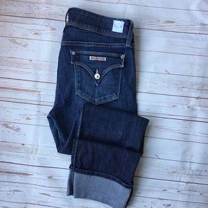 HUDSON Ginny Crop Straight Cuffed Jeans Stel Wash
